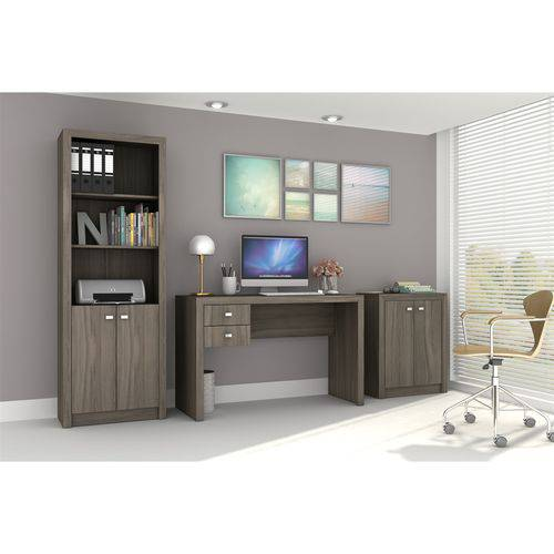 Conjunto Home Office CB01 com Escrivaninha, Armário Alto 2 Portas e Armário Baixo 2 Portas