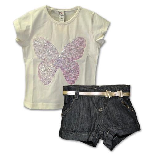 Conjunto Infantil Camiseta Borboleta e Short em Jeans Cinto Laço 1
