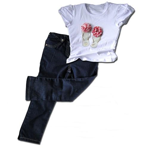 Conjunto Infantil Camiseta Chinelos com Brilho e Calça Legging Jeans Conjunto Calça Infantil 1 Ano