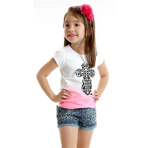 Conjunto Infantil Camiseta Cruz Ombré e Short Jeans Panther 4