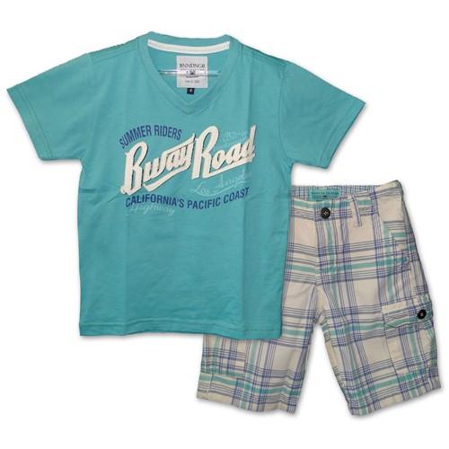 Conjunto Infantil Camiseta Decote V Verde Riders e Bermuda Xadrez Verde e Azul 4