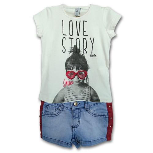 Conjunto Infantil Camiseta Love Story e Short Jeans Listra Vermelha 4