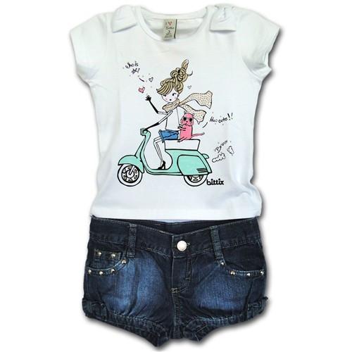 Conjunto Infantil Camiseta Menina Lambreta e Short Jeans 1T