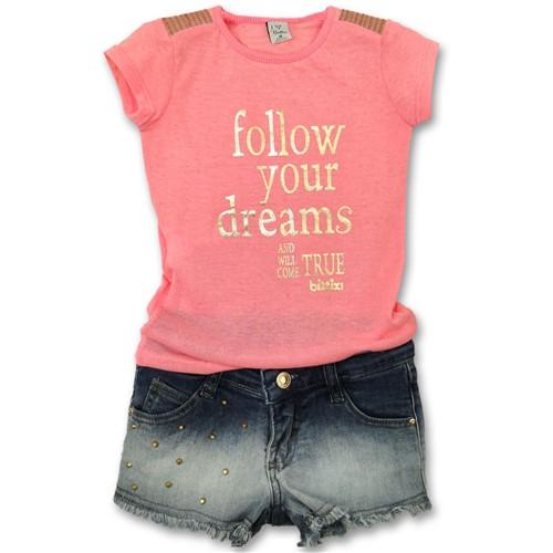 Conjunto Infantil Camiseta Pink com Dourado e Short Jeans Ombré Desfiado com Spikers Dourados 6