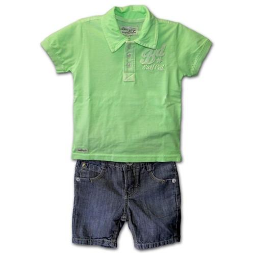 Conjunto Infantil Camiseta Pólo Verde Limão e Bermuda em Jeans 1