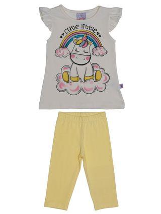 Conjunto Infantil para Bebê Menina - Bege/amarelo