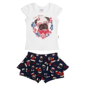 Conjunto Infantil para Bebê Menina - Bege/marinho P