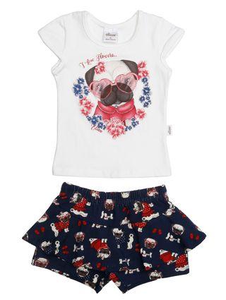 Conjunto Infantil para Bebê Menina - Bege/marinho