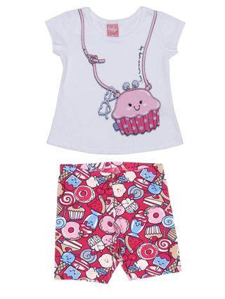 Conjunto Infantil para Bebê Menina - Branco/rosa