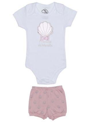 Conjunto Infantil para Bebê Menina - Branco/rose