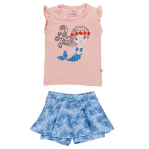 Conjunto Infantil para Bebê Menina - Coral/azul M