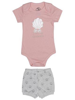 Conjunto Infantil para Bebê Menina - Salmão/cinza