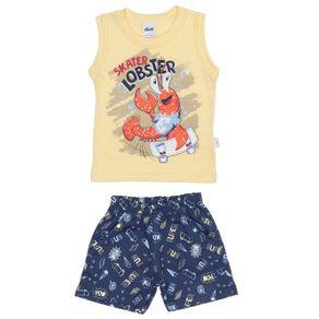 Conjunto Infantil para Bebê Menino - Amarelo/azul Marinho G