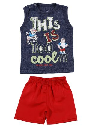 Conjunto Infantil para Bebê Menino - Azul/vermelho