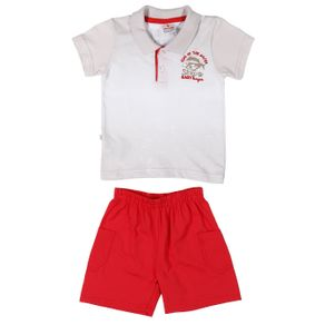 Conjunto Infantil para Bebê Menino - Branco/vermelho G