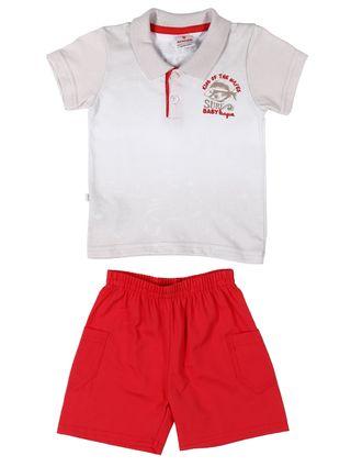 Conjunto Infantil para Bebê Menino - Branco/vermelho