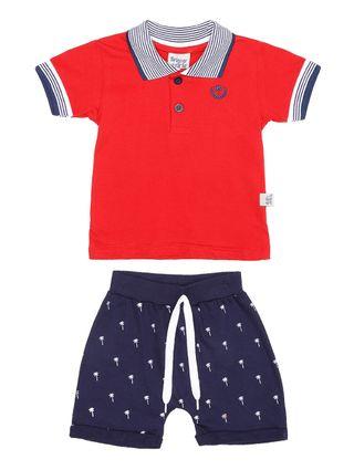 Conjunto Infantil para Bebê Menino - Vermelho/azul Marinho