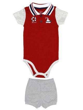 Conjunto Infantil para Bebê Menino - Vermelho/cinza