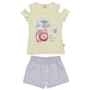 Conjunto Infantil para Menina - Amarelo/cinza 10