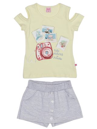 Conjunto Infantil para Menina - Amarelo/cinza
