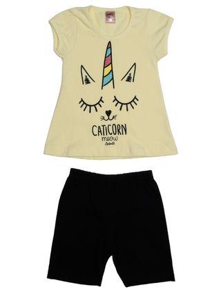 Conjunto Infantil para Menina - Amarelo/preto