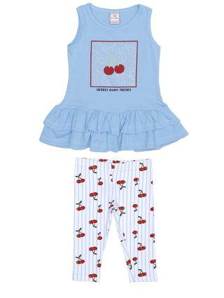 Conjunto Infantil para Menina - Azul/branco