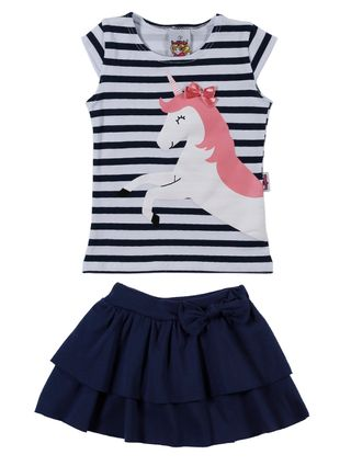 Conjunto Infantil para Menina - Azul Marinho