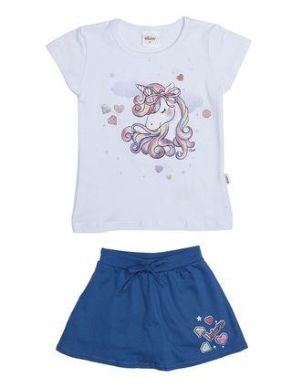 Conjunto Infantil para Menina - Branco/azul