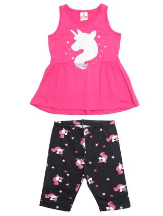 Conjunto Infantil para Menina - Rosa/preto