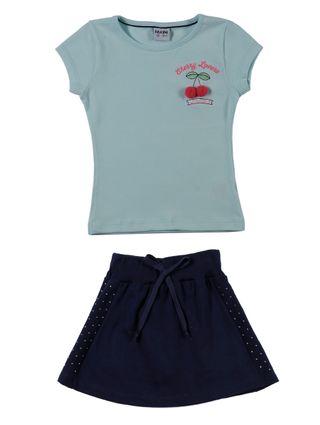Conjunto Infantil para Menina - Verde/azul Marinho