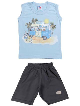 Conjunto Infantil para Menino - Azul/cinza
