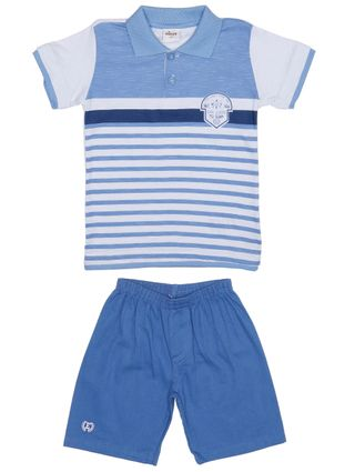 Conjunto Infantil para Menino - Branco/azul