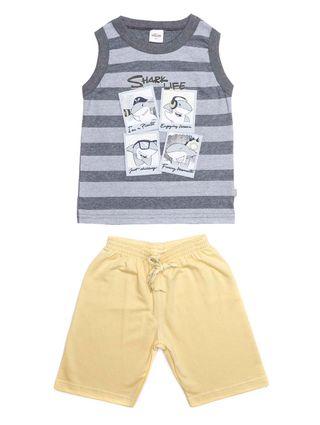 Conjunto Infantil para Menino - Cinza/amarelo