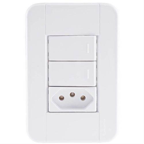 Conjunto 2 Interruptores Simples + Tomada 2P+T 10A 250V - 57240/073 - TRAMONTINA