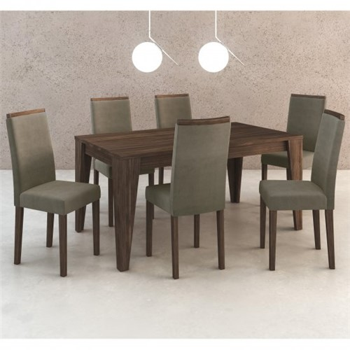 Conjunto Jantar de Mesa e 6 Cadeiras CJ1001 - Tecno Mobili | Elare