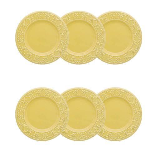 Conjunto Jogo 6 Pratos Sobremesa 20cm - Mendi Sicília