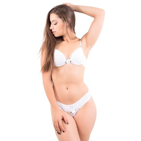 Conjunto Lingerie Lisa com Renda e Flor (Branco) Branco / P