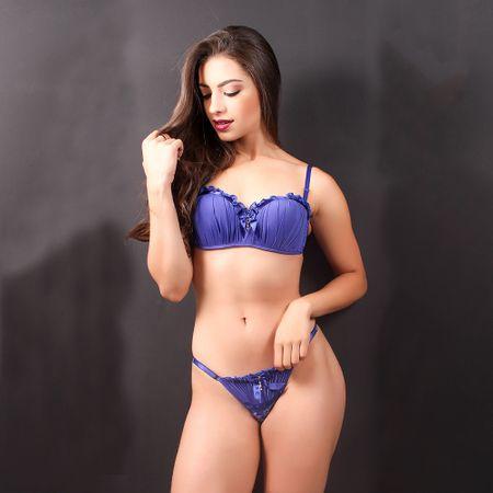 Conjunto Lingerie Sexy Ivete (Azul) P