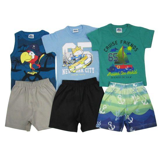Conjunto Masculino Bebê Kit com 3 Unidades Azul Petróleo, Azul Claro e Verde-1