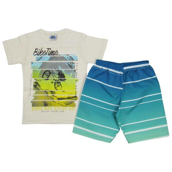 Conjunto Masculino Infantil Camiseta Creme e Bermuda Verde-4