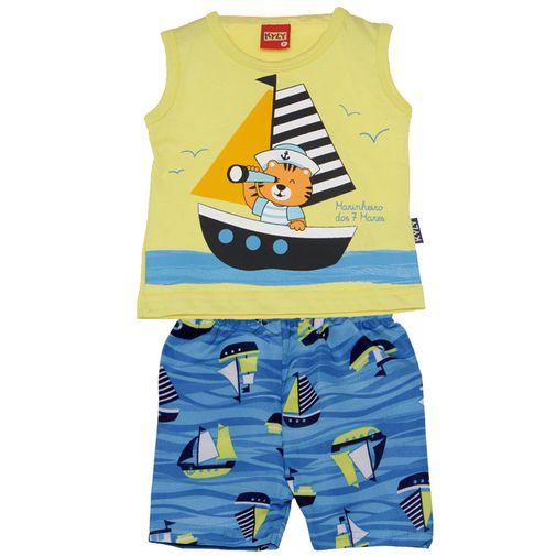 Conjunto Menino Pequeno Marinheiro Amarelo - Kyly M