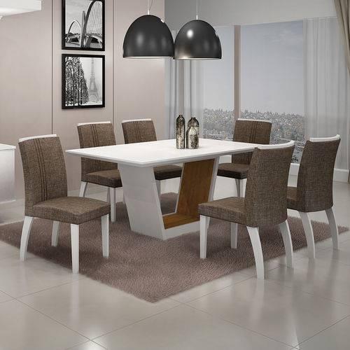 Conjunto Mesa Alemanha 1,80x0,90m com 6 Cadeiras Linho Marrom Branco/imbuia/branco Vidro Branco