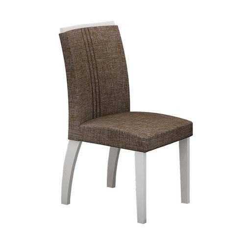 Conjunto Mesa Alemanha 1,80x0,90m com 6 Cadeiras Linho Marrom Branco/imbuia/branco Vidro Preto