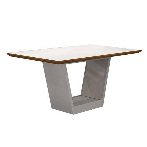 Conjunto Mesa Alemanha 1,80x0,90m com 6 Cadeiras Linho Marrom Branco/imbuia/imbuia Vidro Branco