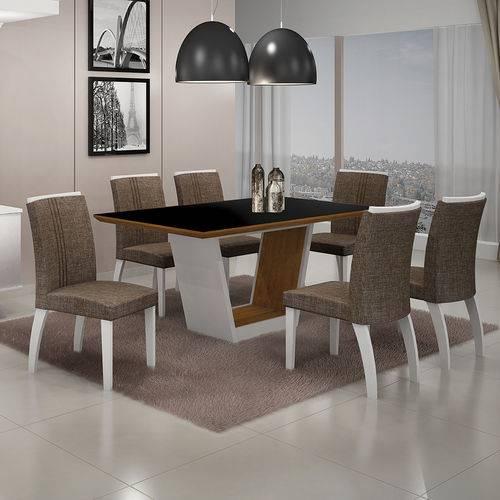 Conjunto Mesa Alemanha 1,80x0,90m com 6 Cadeiras Linho Marrom Branco/imbuia/imbuia Vidro Preto