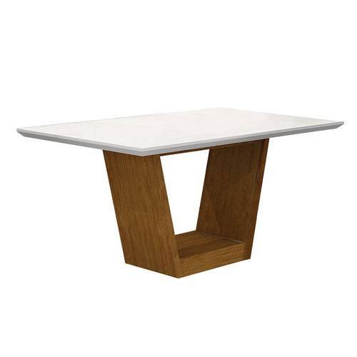 Conjunto Mesa Alemanha 1,80x0,90m com 6 Cadeiras Linho Marrom Imbuia/branco/branco Vidro Branco