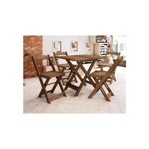 Conjunto Mesa Ambar C/ 4 Cadeiras Naturale RV Móveis