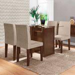 Conjunto Mesa de Jantar 120 X 80 Cor Marrom com 4 Cadeiras Estofadas Bege