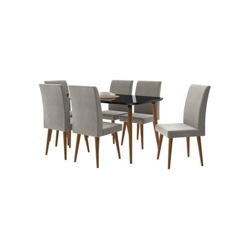 Conjunto Mesa de Jantar Jade com 6 Cadeiras Pés Palito Black RV Móveis