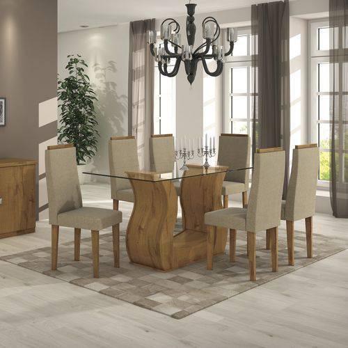 Conjunto Mesa de Jantar Lopas - Base Madeirado Rovere Dafne C/ Tampo de Vidro 160m + 6 Cadeiras Dafne/Animale Bege - Cor Rovere Soft - Assento/Encosto Suede Animale Be